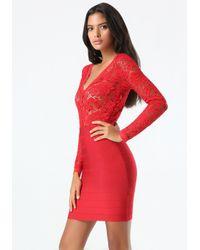 Bebe | Red Lace & Bandage 2-fer Dress | Lyst