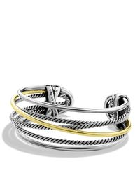 David Yurman | Metallic Crossover Narrow Cuff With Gold | Lyst