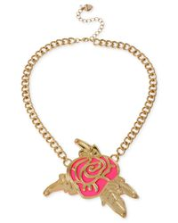 Betsey Johnson | Metallic Gold-Tone Layered Cutout Rose Frontal Necklace | Lyst