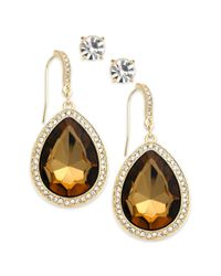 INC International Concepts - Metallic Goldtone Topaz Stone and Pave Edge Teardrop and Round Clear Crystal Stud Earring Set - Lyst