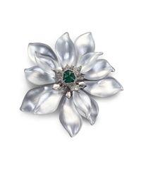 Alexis Bittar - Metallic Deco Lucite & Crystal Flower Pin/Silver - Lyst