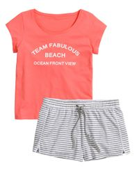 H&M - Pink Pyjama Set With Shorts - Lyst