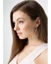 Bebe Metallic Pave Marquis Hoop Earrings