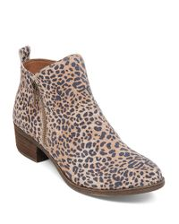 Lucky Brand | Multicolor Basel Leopard Print Suede Zip Booties | Lyst
