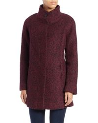 Anne Klein | Purple Button-front Boucle Coat | Lyst