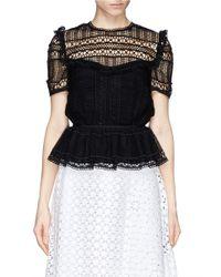Erdem - Black Alma Crocheted Lace Peplum Top - Lyst