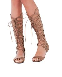 AKIRA Brown Knee High Lace Up Cut Out Taupe Gladiator Sandals
