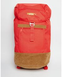 PUMA - Red Suede Backpack for Men - Lyst