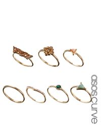 ASOS - Metallic Triangle Stone Ring Pack - Lyst