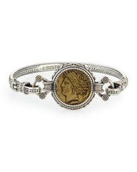 Konstantino | Metallic Eros Silver And Bronze Coin Bangle Bracelet | Lyst