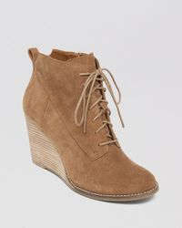 Lucky Brand Brown Lace Up Wedge Booties - Yoanna