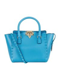 Valentino Blue Mini Rockstud 1973 Double Handle Bag