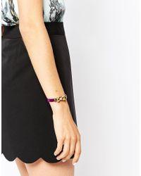 Ted Baker - Purple Leather Bow Bracelet - Lyst