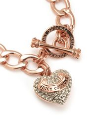 Juicy Couture | Pink Pave Banner Heart Starter Bracelet | Lyst