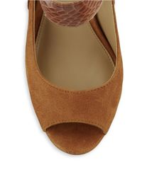 Lauren by Ralph Lauren | Brown Kassandra Embossed Suede Pumps | Lyst