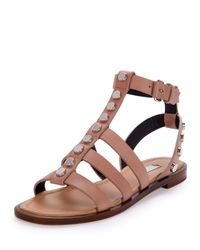Balenciaga - Natural Studded Leather Gladiator Sandals - Lyst