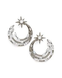 Nadri | Black 'starry Night' Hoop Earrings | Lyst