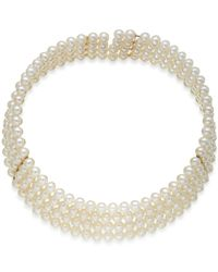 Macy's | White Cultured Freshwater Pearl Collar Necklace (6-1/2mm) In 14k Gold | Lyst