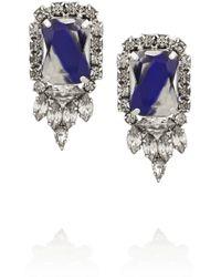 Noir Jewelry Blue Silverplated Crystal Earrings