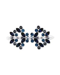 Givenchy Metallic Silvertone Swarovski Montana Sapphire And Black Diamond Crystal Pin