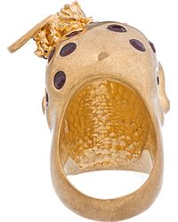 Alexander McQueen Metallic Gold and Silver Skull and Bee Ring