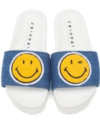 Joshua Sanders Blue And White Denim Smile Sandals