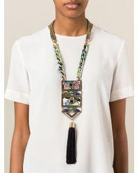 Etro - Metallic Beaded Tassel Rope Chain Necklace - Lyst