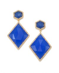 Mija | Dark Blue Jade & White Sapphire Kite Drop Earrings | Lyst