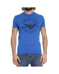 Armani Jeans | Blue T-shirt Short Sleeves Crewneck Logo Print for Men | Lyst