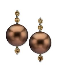 Le Vian - Brown Tahitian Pearl 10mm and Chocolate Diamond Earrings 15 Ct Tw in 14k Gold - Lyst