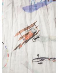Faliero Sarti White Airplane Print Scarf for men