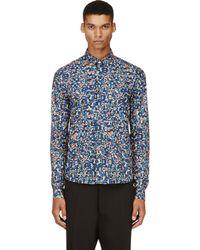 Kris Van Assche - Blue Navy Confetti Print Shirt for Men - Lyst