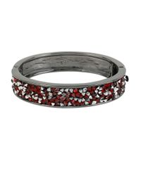Kenneth Cole | Red Sprinkle Stone Hinged Bangle Bracelet | Lyst
