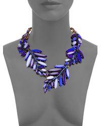 Oscar de la Renta Blue Swarovski Crystal Leaf Necklace