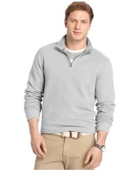 Izod | Gray Big And Tall Sueded Quarter-zip Pullover for Men | Lyst
