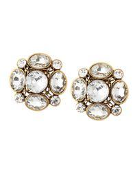 Oscar de la Renta Yellow Crystal Flower Button Clip Earrings Clear