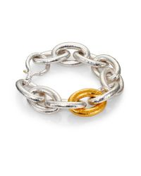 Gurhan | Metallic Galahad 24k Yellow Gold & Sterling Silver Large Oval Link Bracelet | Lyst