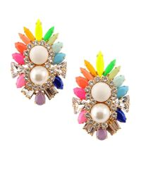 Shourouk | Orange Lady Rainbow Silverplated Swarovski Crystal and Pearl Earrings | Lyst