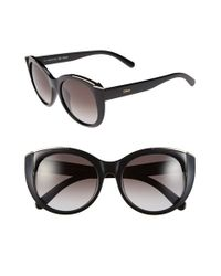 Chloé | Black 'dalia' 55mm Cat Eye Sunglasses | Lyst