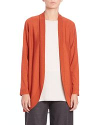 Eileen Fisher | Orange Wool Jersey Oval Cardigan | Lyst
