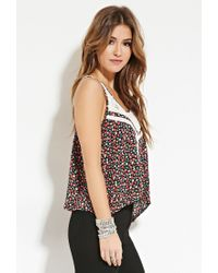 Forever 21 - Black Floral Crochet Lace Top - Lyst