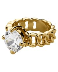Dyrberg/Kern | Metallic Dyrberg/Kern Betty Gold Crystal Solitaire Ring | Lyst