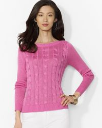 Ralph Lauren | Pink Petite Boat Neck Cable Knit Sweater | Lyst