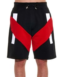 Givenchy Black Tri-Colour Jersey Track Shorts for men