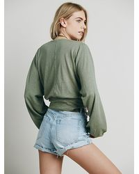 Free People | Green Fp Beach Womens Weekdays Henley | Lyst