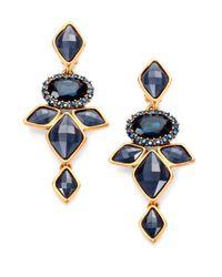 Oscar de la Renta | Blue Navette Drop Earrings | Lyst