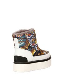 KENZO Multicolor 40mm Tiger Printed Faux Shearling Boots
