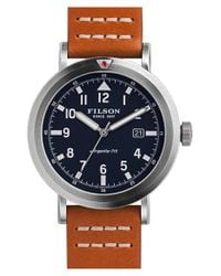 Filson - Brown 'scout' Leather Strap Watch for Men - Lyst