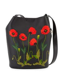 Stella McCartney - Black Embroidered Faux-Leather Bucket Bag  - Lyst