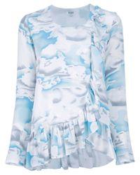 KENZO Blue Ruffle Cloud Top